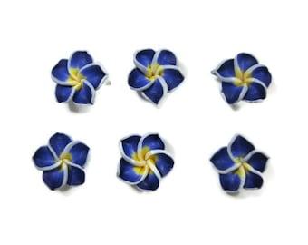 15 mm Polymer Clay Plumeria Flowers Set of 6 (SP11)