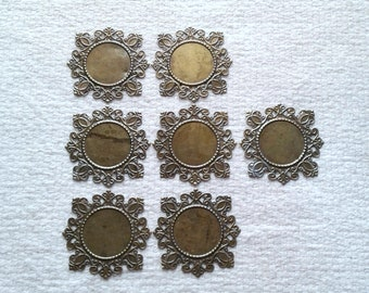 Bronze  Filigree Square Cabochon Connectors - 41 x 41 mm - Sets of 7                                                        05/18