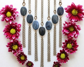 Long Gemstone Necklace - Blue - Dumortierite - Layered, Layering, Boho, Fringe, Tassel, Natural Stones, Handmade, Artisan Made, Hippie, Gift