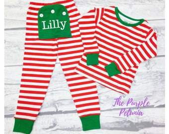 Red Stripe Christmas Pajamas - Monogram Christmas Jammies - Green Stripe Jammies - Christmas - Holly Jolly Jammie - Two- Piece Pajamas