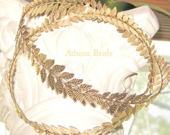 STEFANA  Gold Crowns Leaf Stefana Greek Wedding bride and groom,  koumbaro 2 crowns
