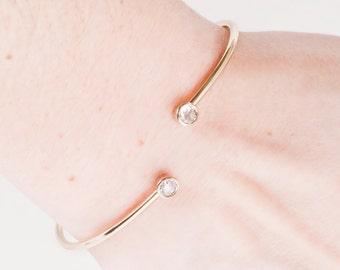 Diamond Bangle - 18k Yellow Gold Rose Cut Diamond Bangle Bracelet