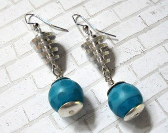 Spotted Teal and Silver Earrings (2906)