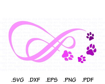 Pet Love Infinity SVG File, Infinity Puppy Clipart, Veterinary Office Art, Animal SVG File, Vinyl Cutter, Screen Print, Machine - CA436
