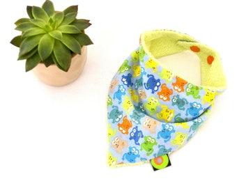 "Bandana bib, baby bib ""Little colorful frogs"" (0/6 months)"