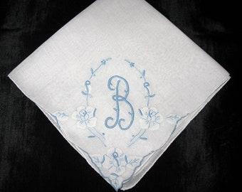 Handkerchiefs for Brides, Bridal blue Monogramed Wedding Hankies Bridal Vintage B N D R H G L K M or E