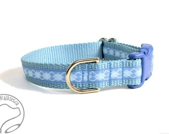 "Argyle Oxford Blue Dog Collar - 3/4"" (19mm) wide - Your Choice of size and style - Martingales or Quick Side Release"