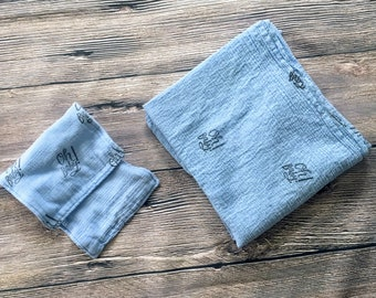Swaddle Blanket and burp cloth set baby shower gift