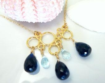 Sapphire blue quartz gold cloud raindrop necklace, gold filled bubble blue raindrop necklace, rain clouds blue raindrop gold necklace