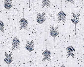 Gray and Blue Arrow Swaddle / Gauze / Muslin Cotton Shannon Fabric by the Yard