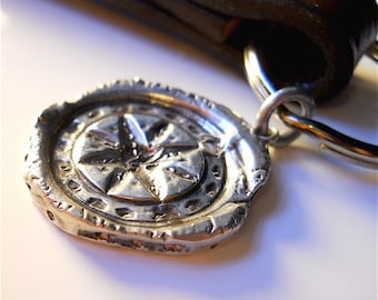 Cayman Compass Recycled Wax Seal Sterling MENs Pendant, TALISMAN + Key Chain . Nautical, Boating, Travelers   North Star