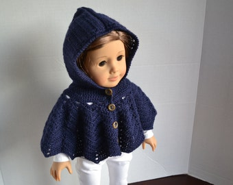 18 inch Doll Clothes - Crocheted Hooded Poncho Sweater - Navy Blue - MADE TO ORDER - fits American Girl