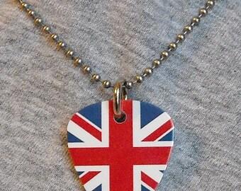 Metal Guitar Pick Necklace UNION JACK British Flag UK pendant charm 2-sided