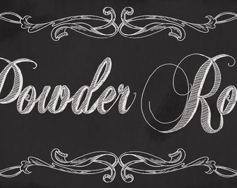 Powder Room Chalkboard Sign,Powder Room Decor, Vintage Style Bath Decor, vintage powder room decor,Two sizes available