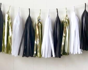 Free Shipping - Black Gold and White Tassel Garland - Wedding Decor - Room decor - Nursery Decor - Photo Prop