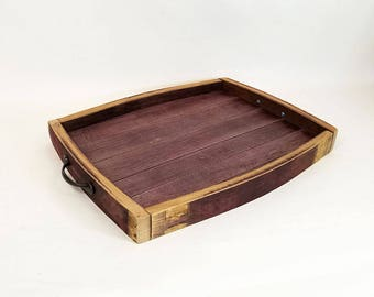 Wine Barrel Serving Tray, Barrel Top Serving Tray, Wine Barrel Decor, Serving Tray, Wedding Gift Idea