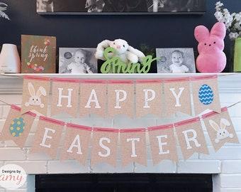 Happy Easter Printable Banner, Hoppy Easter, Easter Decoration, Easter Decor, Easter Egg Banner, Easter Bunny Banner, Instant Download