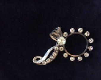 Vintage Rhinestone Brooch Silver tone and stones