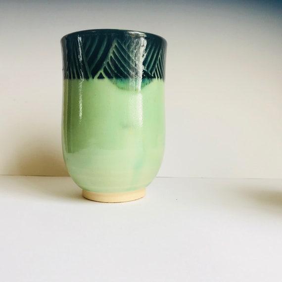 Spring Green handmade cup, tumbler, mug with no handle
