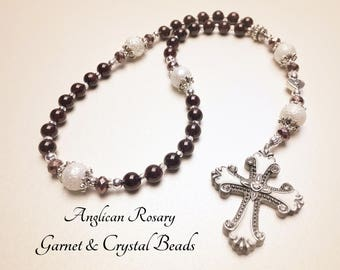 Anglican Rosary. Christian Rosary. Garnet Rosary. Rosary Gift. Protestant Prayer Beads. Episcopal Rosary. Christian Gifts. #AR32