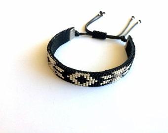 Tribal Bracelet, Native American Bracelet, Ethnic Bracelet, Boho Bracelet, Miyuki Jewelry, Birthday Gift, Friendship Black Bracelet