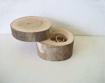 Sycomore petit anneau en bois boîte avec couvercle proposition boîte bague rustique porteur «Oreiller» journal personnalisé de bijoux de mariage