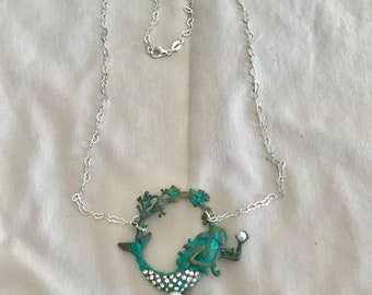 Mermaid Necklace Pearls Sterling Heart Chain Patina Mermaid