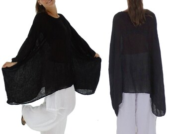 HH900SW ladies tunic poncho blouse linen layered look one size black