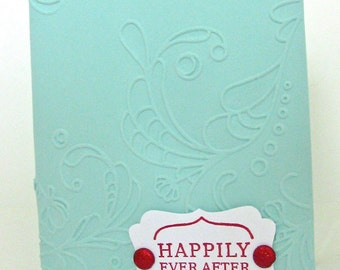 Wedding Card Handmade or Handcrafted Bridal Shower Card, Wedding Card, Turquoise Wedding Card, Turquoise and Red Wedding, Embossed Card