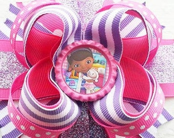 """Doc McStuffins New Handmade Boutique Layered Hair Bow 5"""" New"""