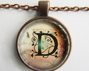 """Initial """"D"""" Necklace -- Green Vine pattern Personalized Letter D Necklace, Wedding Necklace, for Bridesmaid, Hen Night, Friendship token"""