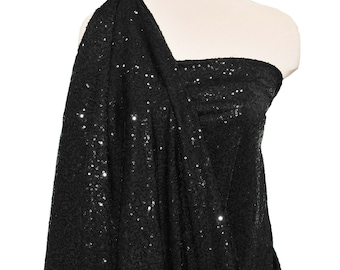 """Sewn on Sequin fabric 58"""" BLACK . stretch all 4 ways..great for costumes, dance, theater, formal wear, pageant"""