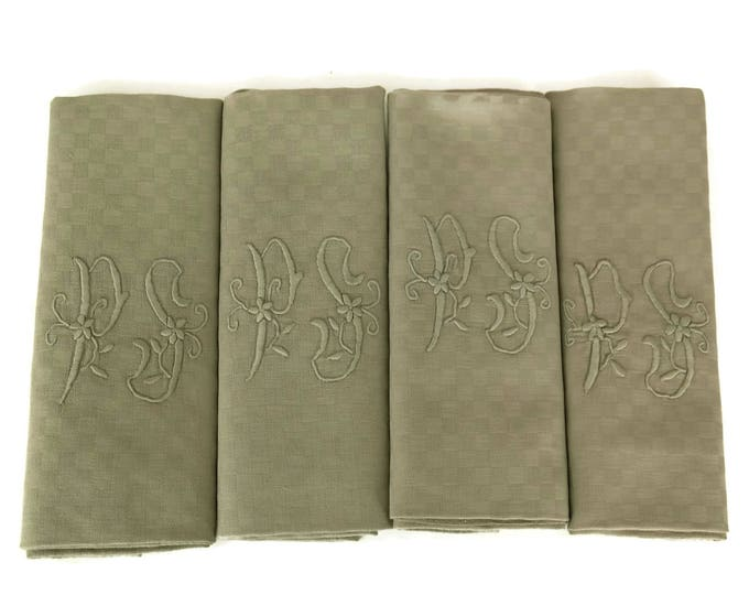 Taupe Linen Napkins. Antique French Monogram Serviettes. Set of 4 with Embroidered Initials P S.