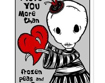 Ennui - Love You More - GingerDead Goth / Alt Greeting Card  w/ Envelope - Valentine / Anti-Valentine / Love