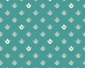Teapot Teal Sparkle Cotton Fabric from the Wonderland 2 Collection by Melissa Mortenson for Riley Blake Fabrics