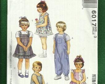 McCalls 6017 Sunsuit Sun Dress Rompers & Overalls for Little Kids  Size 3  UNCUT