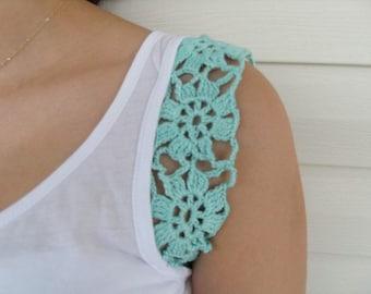 Crocheted Shirt, Crocheted Blouse, Tunic, Lace Shirt, Mint Green, Fresh Flowers Spring Fashion