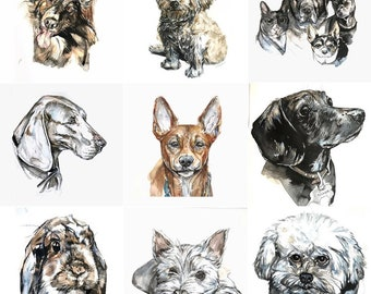 PERSONALIZED pet portrait; custom original watercolor painting on paper