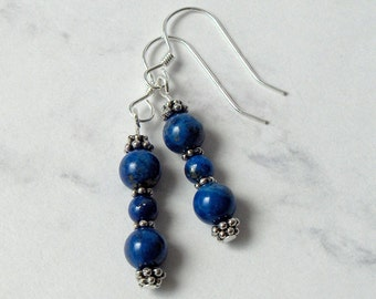 Lapis Lazuli Bead Dangle Earrings Pewter Bead Accents, Sterling Silver Earwires - Metaphysical Spiritual Psychic Awareness
