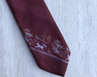 Dark Red Horses Florentino Men's Tie