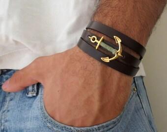Men's Bracelet - Men's Anchor Bracelet - Men's Leather Bracelet - Men's Jewelry - Men's Gift - Boyfriend Gift - Present For Men - Husband