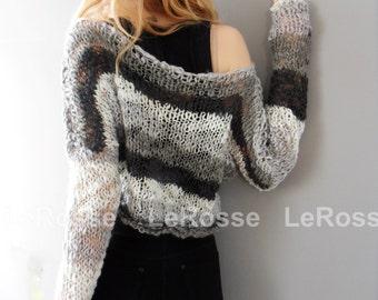 Multicolor cropped knit top. Loose knit crop sweater.   Women knit crop sweater.