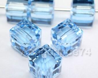12 pcs Swarovski Elements - Swarovski Crystal 5601 4mm CUBE - AQUAMARINE