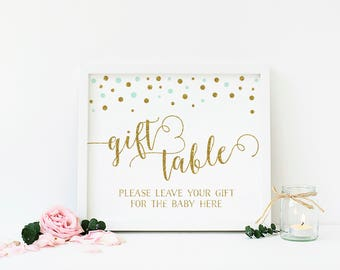 Mint Green and Gold Baby Shower Decorations, Gift Table, Gifts Sign, Gift Table Sign Printable, Gender Neutral Baby Shower, DIY - CG4