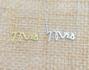 Mrs Necklace small mrs necklace delicate short necklace, gold or silver, bridal shower gift, wedding, bridal, bride