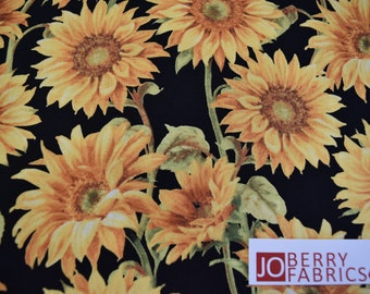 Sunflowers from the Follow the Sun Collection by Lisa Audit for Wilmington Fabrics.