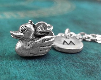 Duck Necklace, SMALL Personalized Necklace, Duck Pendant Custom Necklace Ducky Necklace, Monogram Necklace, Duck Charm Necklace, Rubber Duck