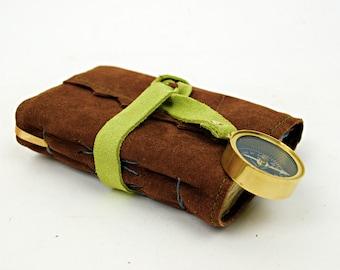 Kleine Leder-Reise-Journal mit Kompass und Baumwolle Rag-Papier