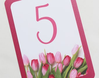 Pink Spring Tulip Table Numbers