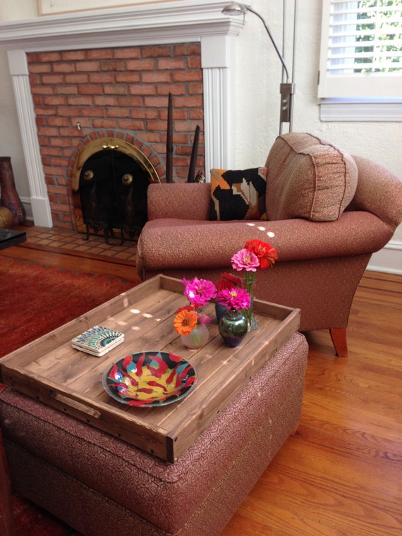 Rustic Wooden Ottoman Tray, Ottoman Tray, Wooden Tray, Rustic Decor, Coffee Table Tray, Farmhouse Decor, Rustic Home Decor, Serving Tray
